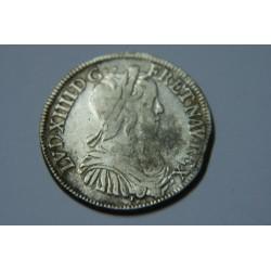 DEMI ECU LOUIS XIV 1656 I LIMOGES MECHE LONGUE