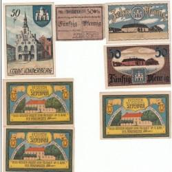NOTGELD  SIEDENBURG SONDERBURG - 7 different notes + 50 pfennig RARE (S124)