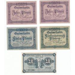 NOTGELD  ST WENDEL SANDE - VARIANTE serie B - 5 different notes (S194)