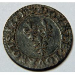 DOUBLE TOURNOIS LOUIS XIII 1621 R VILLENEUVE