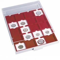Médaillier 48 compartiments carrés jusqu'à 30 mm Ø, gris