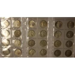 Série Complète  de 50 centimes semeuse argent 1897 à 1920