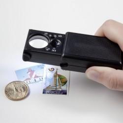 Loupe à sortier de son étui avec LED, grossissement 10x et 30x, noir