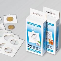 Etuis carton LEUCHTTURM, blanc, diamètre intérieur 17,5 mm, autocollants, 100 au détail