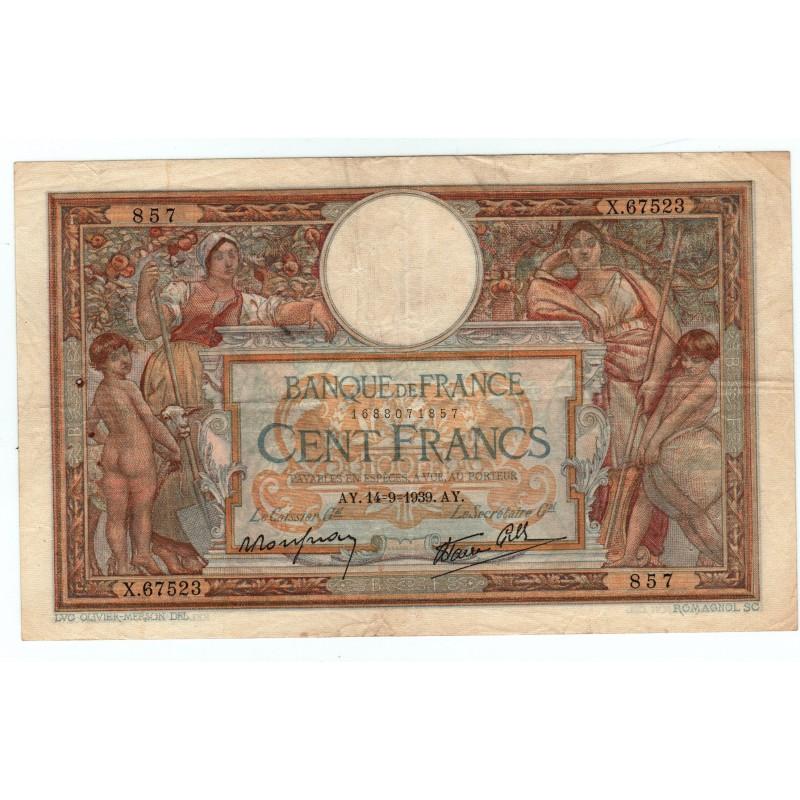 100 Francs Luc Olivier Merson 14-09-1939 TTB Fayette 25.49
