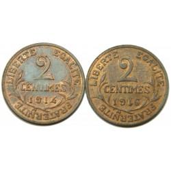 D. DUPUIS - 2 centimes 1914 , 1916, 1919, 1920