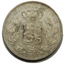 BELGIQUE - LEOPOLD I er 5 Francs 1850 TTB  point s/date
