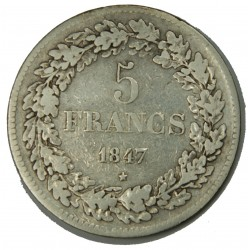 BELGIQUE - LEOPOLD I er 5 Francs 1847 TB+