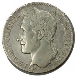 BELGIQUE - LEOPOLD I er 5 Francs 1848 TTB