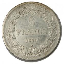 BELGIQUE - LEOPOLD I er 5 Francs 1848 TTB  tranche relief
