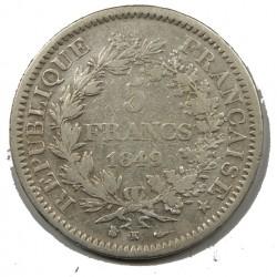 5 FRANCS HERCULE 1848 D Etat TB
