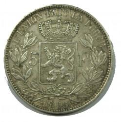 BELGIQUE - LEOPOLD II 5 Francs 1866 TTB sans point