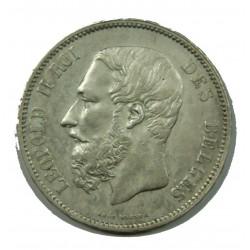 BELGIQUE - LEOPOLD II 5 Francs 1873 TTB Protège + espacé