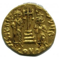 BYZANTINE - CONSTANTIN IV, HÉRACLIUS et TIBÈRE Solidus