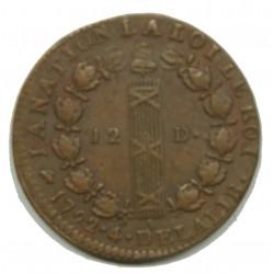 CONSTITUTION - LOUIS XVI 12 deniers 1792 D Lyon TTB+