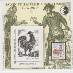 BLOC CNEP 62 SALON PHILATELIQUE D' AUTOMNE 2012