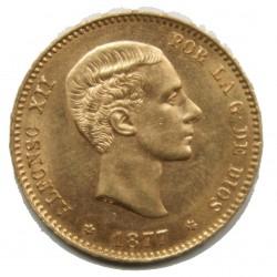 ESPAGNE - 25 PESETAS 1877 ALPHONSO XII OR 900/00