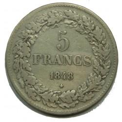 BELGIQUE - 5 FRANCS 1848 LEOPOLD I - TTB