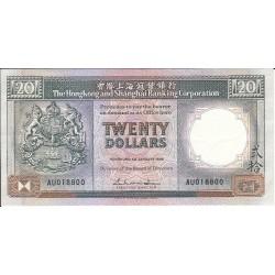 HONG KONG SHANGHAI 20 DOLLARS 1988