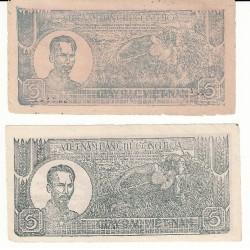 VIETNAM lot 2 billets de 5 dong 1948