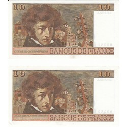 Lot de 2 billets 10 Francs BERLIOZ 06-12-1973 SPL/TTB+ Fayette: 63.21