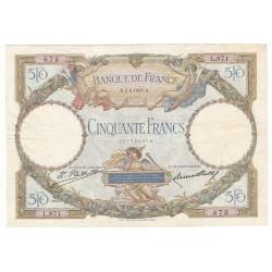 50 Francs LUC OLIVIER MERSON 04-08-1927 TTB Fayette: 15.1