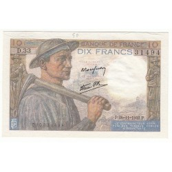 10 Francs MINEUR 26-11-1942 P/NEUF Fayette: 8.6
