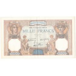 1000 Francs CERES ET MERCURE 21-09-1939 SUP Fayette 38.37