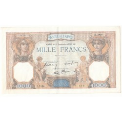 LOT DE 2 BILLETS 1000 Francs CERES ET MERCURE  21-09-1939 SUP Fayette 38.37