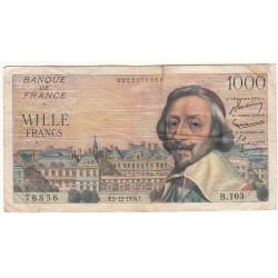 1000 Francs RICHELIEU 02-12-1954 Fayette 42.9