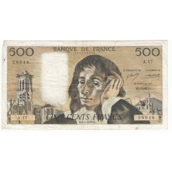 500 Francs PASCAL 08-01-1970  Fayette 71.5