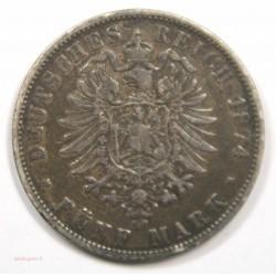 Allemagne – 5 Mark 1874 Wuerttemberg
