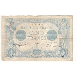 5 FRANCS BLEU 8 Avril 1915 TB Fayette 2.26