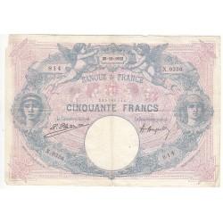 50 FRANCS BLEU ET ROSE 20-10-1922 TTB Fayette 14.35