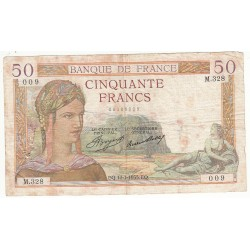 50 FRANCS CERES 17-01-1935 B Fayette 17.3