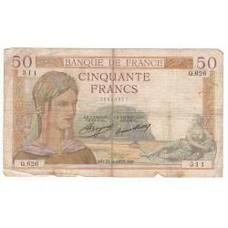 50 FRANCS CERES 21-02-1935 TB Fayette 17.4