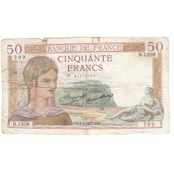 50 FRANCS CERES 04-04-1935 TB Fayette 17.7