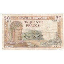 50 FRANCS CERES 04-04-1935 TB+ Fayette 17.7