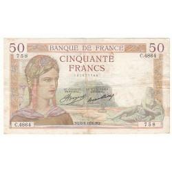 50 FRANCS CERES 06-08-1936 TB Fayette 17.29