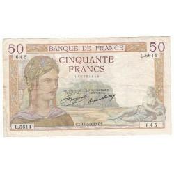 50 FRANCS CERES 11-02-1937 TB+ Fayette 17.34