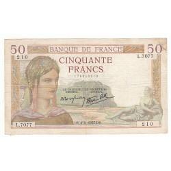 50 FRANCS CERES 04-11-1937 TB+ Fayette 18.4