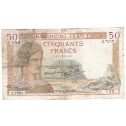 50 FRANCS CERES 02-12-1937 TB- Fayette 18.5