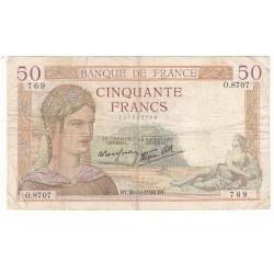 50 FRANCS CERES 20-10-1938 TB Fayette 18.16
