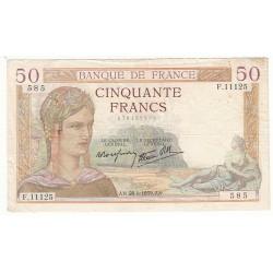 50 FRANCS CERES 28-09-1939 TB+ Fayette 18.32