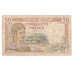 50 FRANCS CERES 11-01-1940 TB+ Fayette 18.37