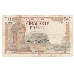 50 FRANCS CERES 08-02-1940 TB Fayette 18.38