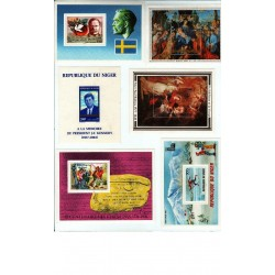 16 blocs du Niger + 1 timbres non dentelé + 1 autocollant