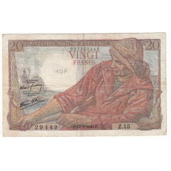 20 FRANCS PECHEUR 12-02-1942 TB