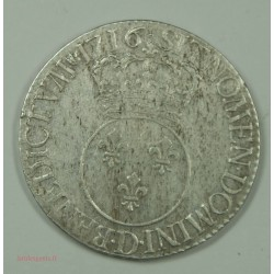 Ecu LOUIS XV 1716 D Lyon fn Vertugadin