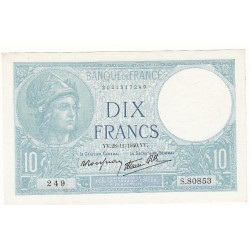 10 FRANCS MINERVE 28-11-1940 SPL Fayette 7.22